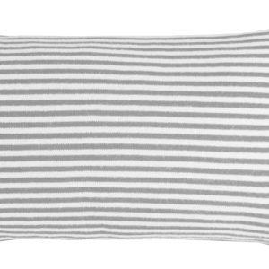 Kissen Feinstrick grau/weiß